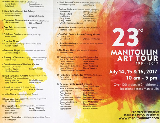 Manitoulin Fine Arts Association Art Tour Pamphlet